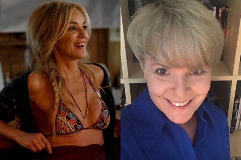 Wprawdzie nie o wiek tu chodzi, a o podejście do niego i do kobiecości. Po lewej: Sharon Stone w najnowszym filmie. Po prawej: Karolina Korwin Piotrowska po metamorfozie odsłaniającej siwe włosy.