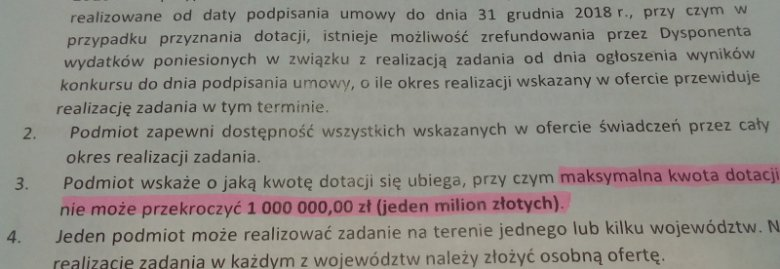 ...maksymalna suma dotacji mogła wynosić 1 mln zł. Zatem skoro do rozdania było 35 mln zł a w konkursie wygrały 34 projekty, to co najmniej milion pozostał jeszcze do rozdysponowania.