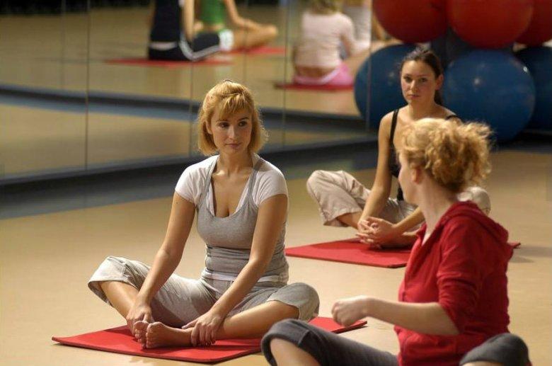 Magda z koleżankami na pilatesie