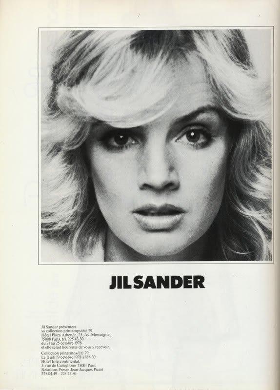 Reklama Jil Sander - Vogue Paris, październik 1978 rok
