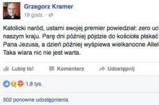 Opinia ojca Kramera zyskała dużą popularność na Facebooku.