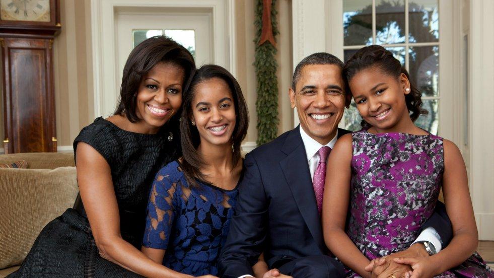 Zdjęcie rodziny Obamów wykonane w Białym Domu w 2011 roku.