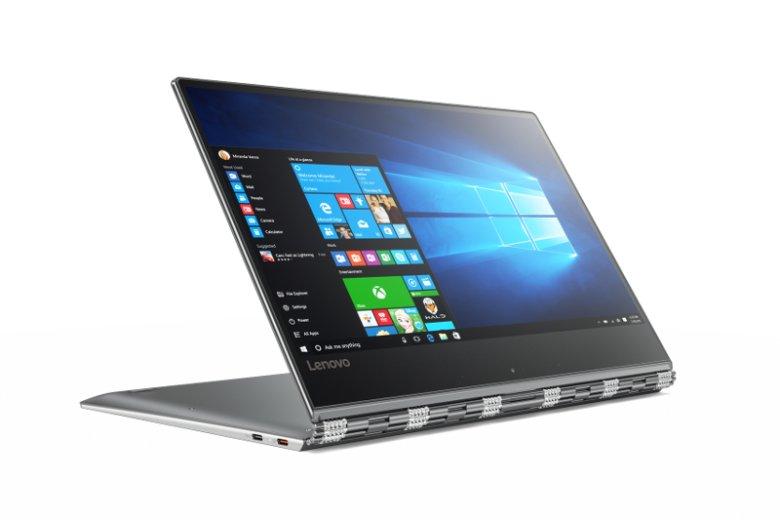 Yoga 910, z ekranem 4K i praktycznie niewidocznymi ramkami, to laptop, który można ustawić pod każdym kątem. Służy do tego specjalny zawias 360°