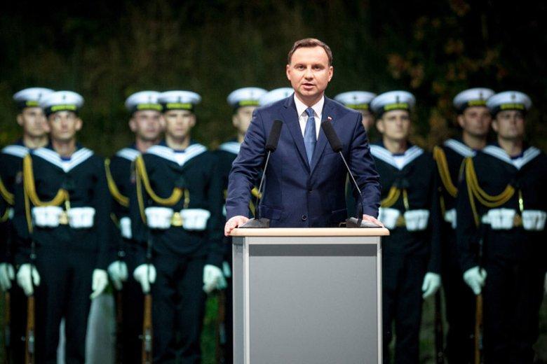 Prezydent Andrzej Duda podczas uroczystości rocznicowych na Westerplatte w Gdańsku.