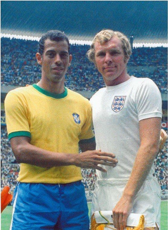 Carlos Alberto i Bobby Moore podczas MŚ 1970