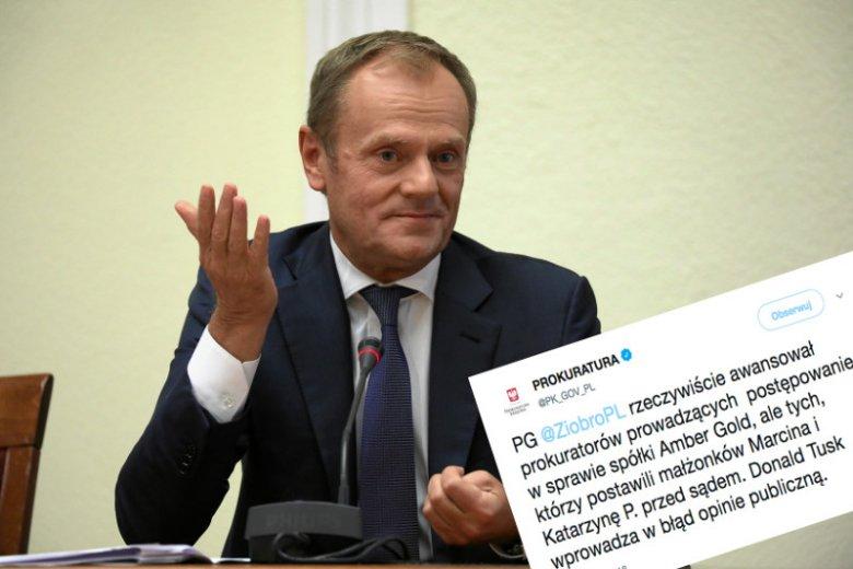 Reakcja prokuratury na słowa Donalda Tuska o awansowanych prokuratorach.