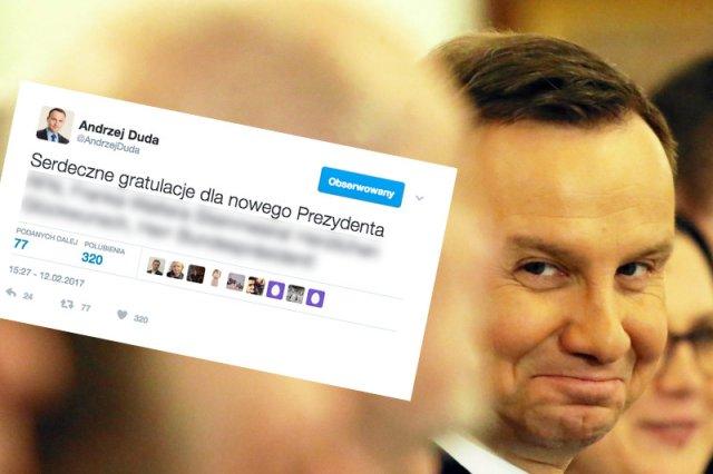 Ten jeden tweet Andrzeja Dudy pokazuje, jak łatwo podpaść prawicowym krzykaczom. Absurd do kwadratu
