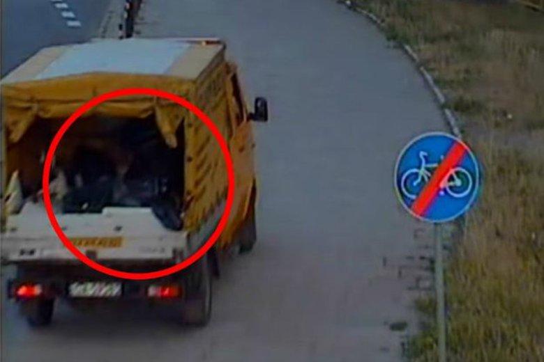 Według detektywów z agencji Lampart na pace tej śmieciarki po przybliżeniu widać twarz zakneblowanej kobiety