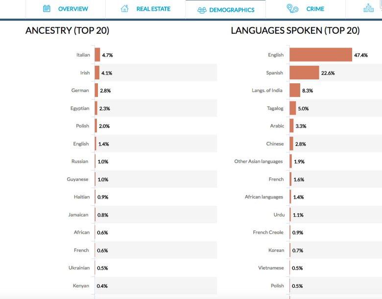 Sreen ze strony neighborhoodscout.com – demografia miasta Jersey City z podziałem na języki i pochodzenie mieszkańców.