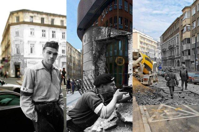 Projekt Teraz44 sugestywnie pokazuje, jak wyglądała Warszawa w trakcie Powstania Warszawskiego, a jak wyglądają te samie miejsca dziś.