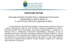 Fragment oświadczenia Samorządu Studentów WPiA UJ