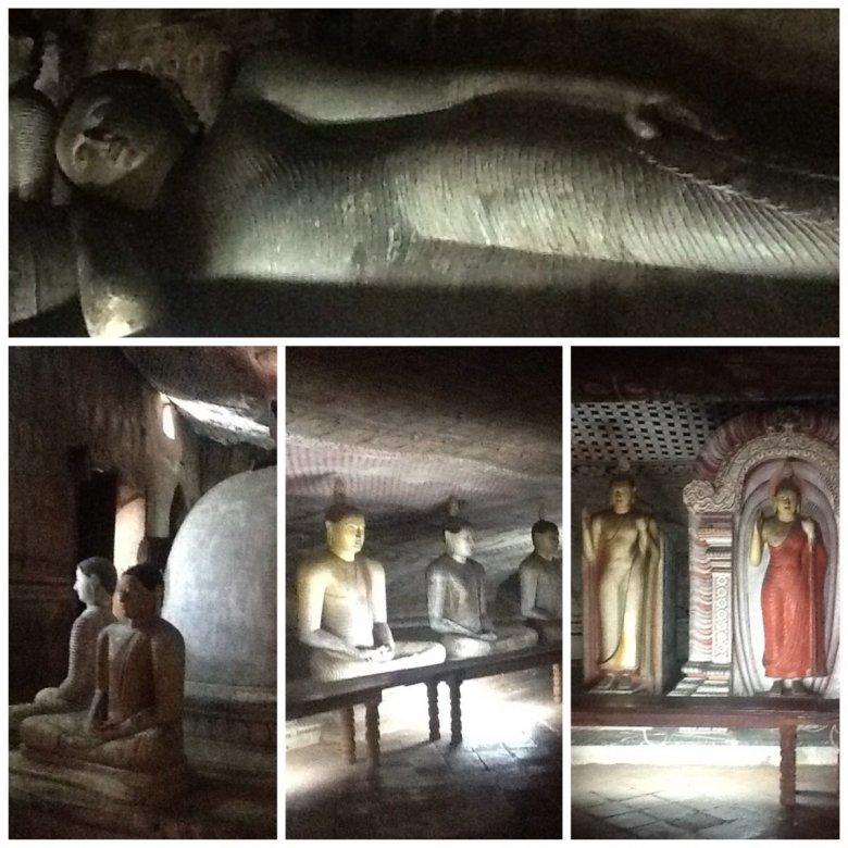 Dambulla, Złota Świątynia, Sri Lanka. W wykutych w skale grotach można zobaczyć 150 kamiennych  posągów  medytującego Buddy i jeden duży, monumentalny przedstawiający leżącego Buddę.