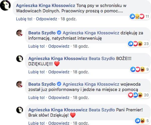 Dyskusja na profilu wicepremier Beaty Szydło.