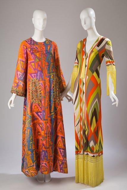 sukienka Emilio Pucci z ok. 1970 i caftan Oscar de la Renta z ok. 1963