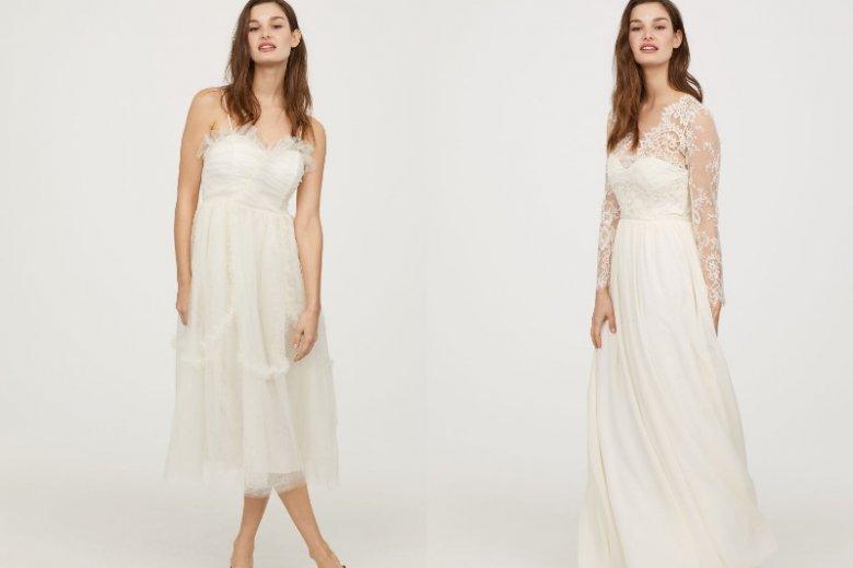 Sukienki ślubne z H&M są modne, a ich ceny rozsądne. Krótka sukienka: 599 zł, długa: 799 zł