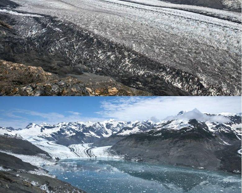 Zanik lodowca Columbia na Alasce, zdjęcia z lat 2009 i 2015.