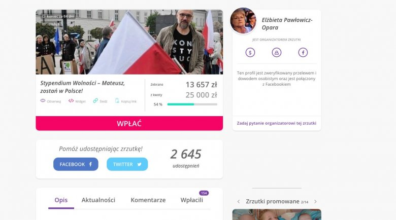 Do końca zbiórki pozostało jeszcze 64 dni, ale już uzbierano ponad 13 tys. zł.
