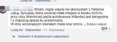 Komentarze oburzonych internautów na facebookowym profilu Ruch S.A.