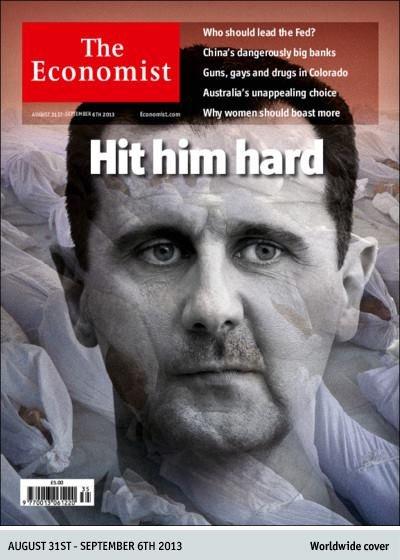 """Okładka """"The Economist"""" wzywająca do zaatakowania Baszara al-Assada."""
