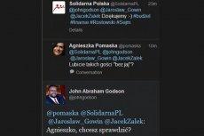 Tak wyglądała rozmowa, jaką John Godson przeprowadził na Twitterze z posłanką PO Agnieszką Pomaską