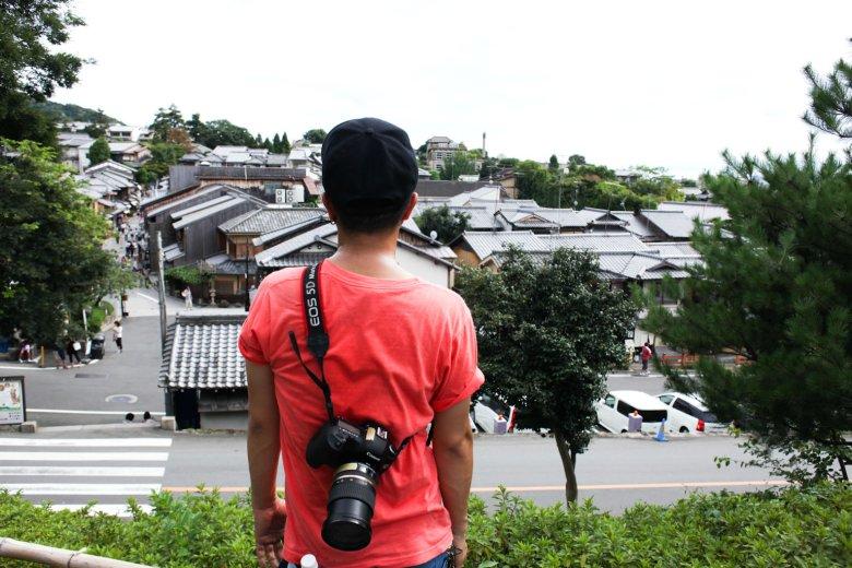 mój asystent i panorama Kioto