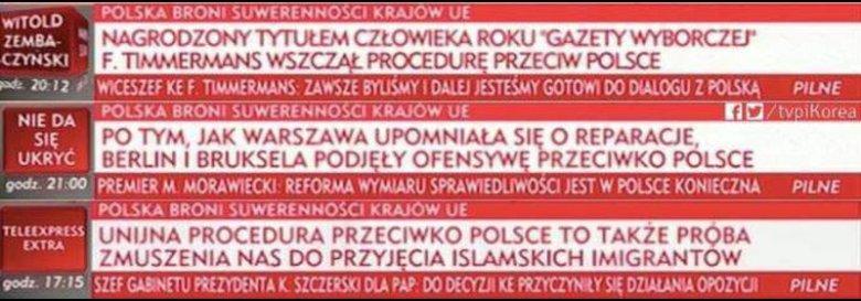 Paski grozy w TVP Info nie pozostawiają złudzeń co do tego, dlaczego i za co UE karze Polskę i straszy sankcjami.