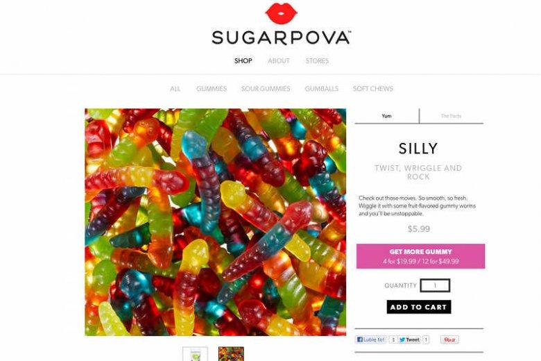 Jeden z produktów Marii Szarapowej – żelki w kształcie robaków