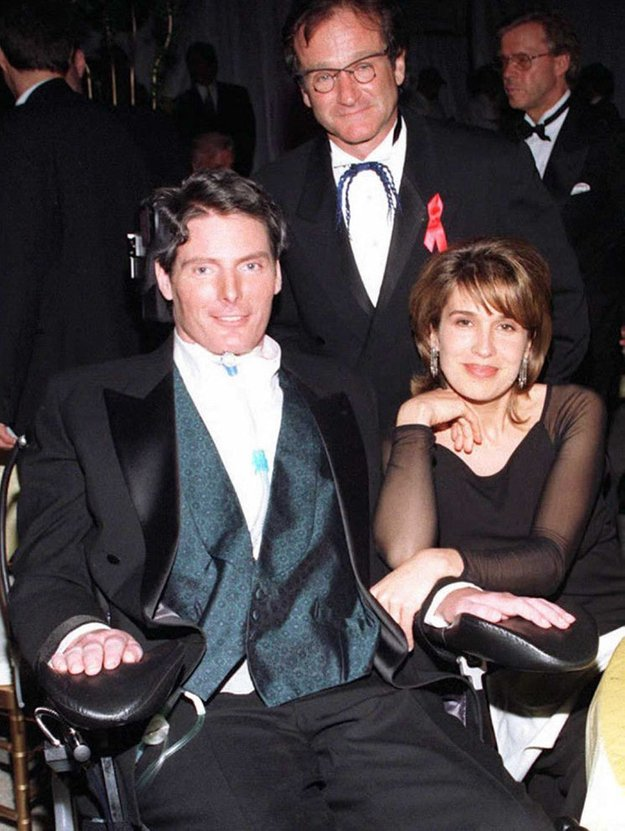 Robin Williams i Christopher Reeve z żoną