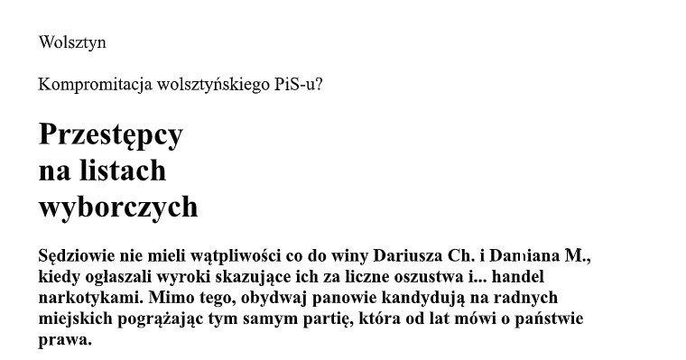 """Początek treści artykułu w """"Na Temat – Tygodnik Nadobrzański""""."""