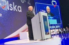"""Jarosław Kaczyński przemawiał na konwencji programowej PiS """"Myśląc Polska"""" w Katowicach."""