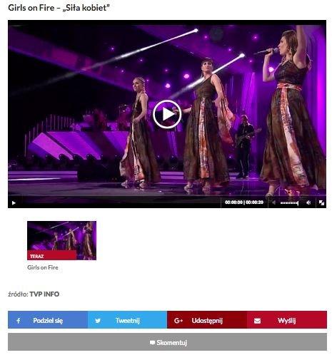 W artykule o konkursie, zwycięska piosenka Girls On Fire jest umieszczona na samym końcu