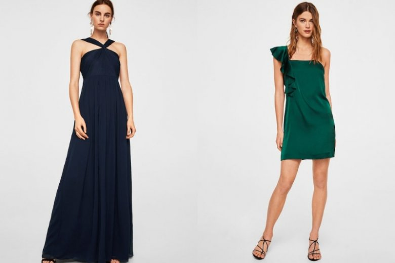 Granatowa sukienka 449.90  zł, zielona sukienka mini 139, 90 zł