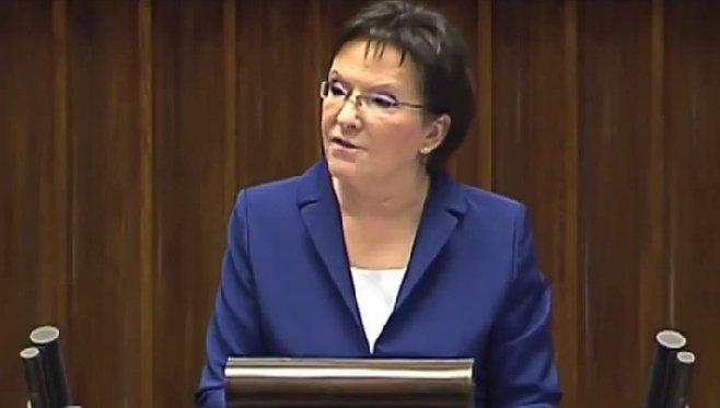 Ewa Kopacz wygłasza expose.