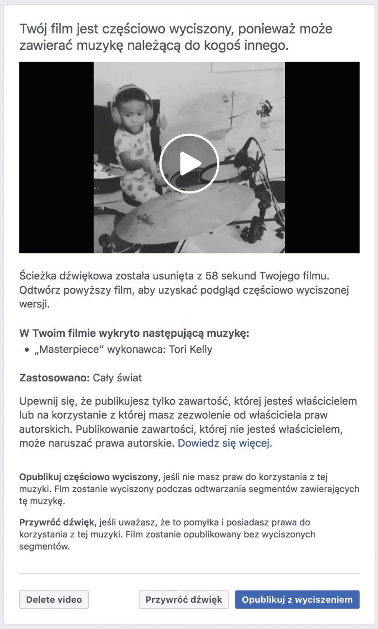 Na screenie widzimy komunikat, jaki Facebook przekazał użytkownikowi, któremu zablokował dźwięk w jego filmiku z dzieckiem grającym na perkusji (w tle słychać było utwór z radia).