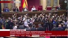 Katalonia ogłosiła niepodległość od Hiszpanii. Moment głosowania pokazało m.in. BBC.