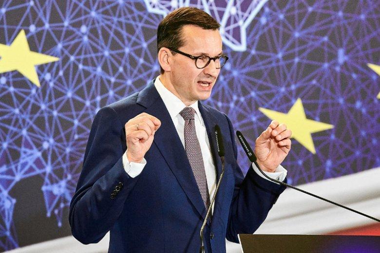 Premier Morawiecki podczaskonwencji PiS w hotelu Andels w Łodzi.