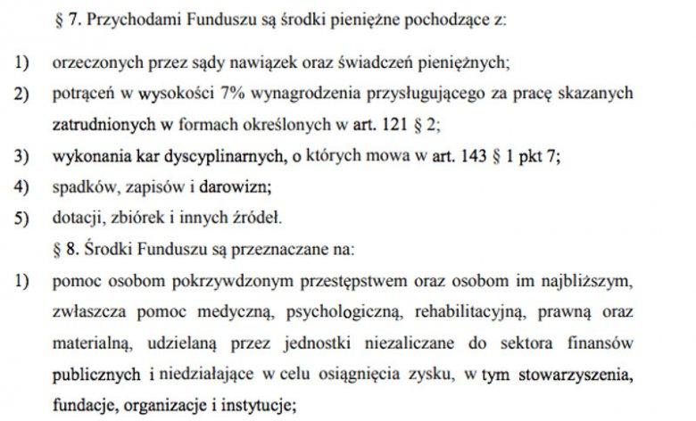 Przychody Funduszu Sprawiedliwości są określone w Kodeksie Karnym wykonawczym.