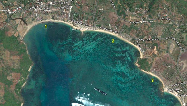 Zdjęcie satelitarne wybrzeża w Kucie na Lombok.
