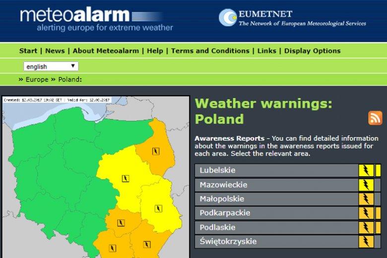 Tak wygląda aktualna mapa alertów pogodowych dla Polski.