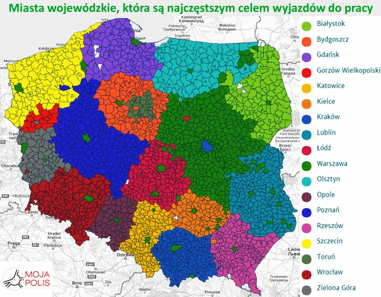 Miasta wojewódzkie, które są najczęstszym celem dojazdów do pracy
