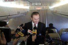 Donald Tusk na pokładzie Tu-154 M podczas wizyty we Francji w 2007 roku.
