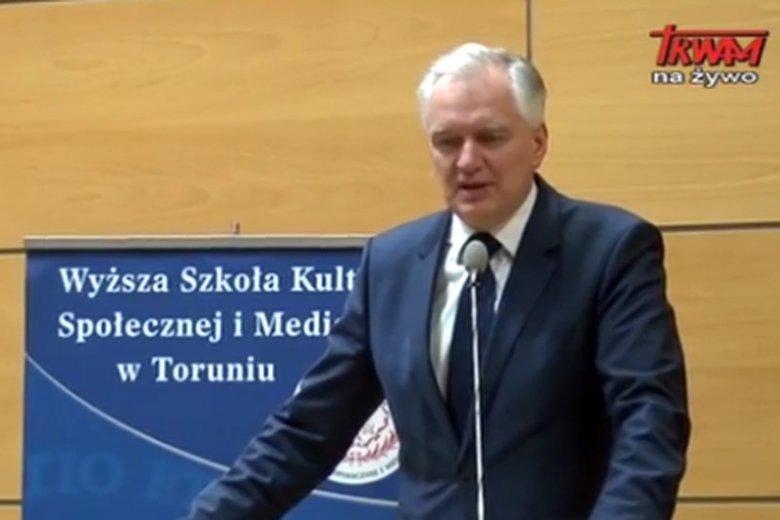Jarosław Gowin z kurtuazyjną wizytą na uczelni ojca Tadeusza Rydzyka.