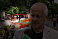 """Takiego tła na """"setce"""" dziennikarz TVP Info się nie spodziewał."""