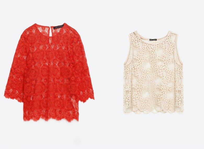 Czerwona koronkowa bluzka - Zara 199, 90 zł, kremowy bezrękawnik (dostępny także w kolorze czarnym) - Zara 79,90 zł