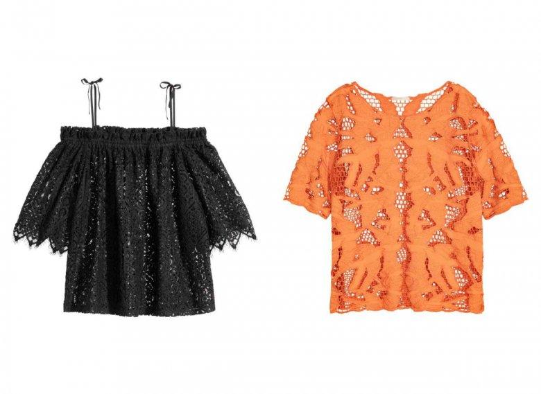Koronkowa bardotka z cienkimi ramiączkami - H&M 149,90 zł, pomarańczowa bluzka - H&M trend 139, 90 zł