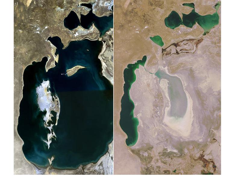 Jezioro Aralskie w 1989 roku (po lewej) i w 2008 roku (po prawej)