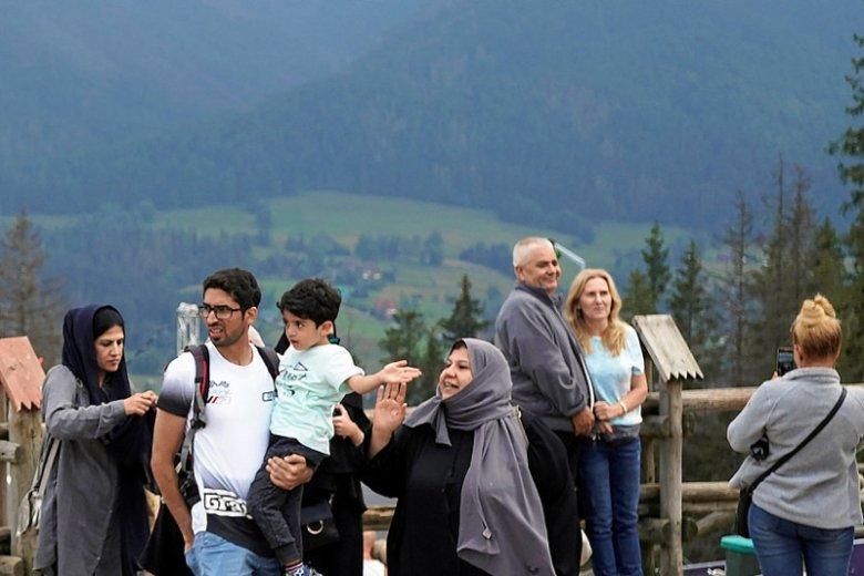 Turyści z krajów arabskich na Gubałówce.