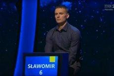 """Program """"Jeden z dziesięciu"""". Uczestnik odpowiada na pytanie Tadeusza Sznuka o anchois."""