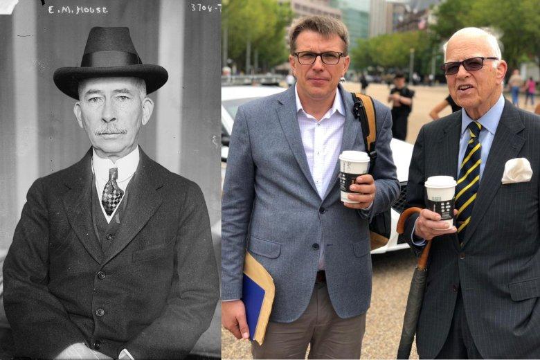 Po lewej Edward M. House, a po prawej dziennikarz Jacek Stawiski i prawnuk pułkownika - Edward Robbins