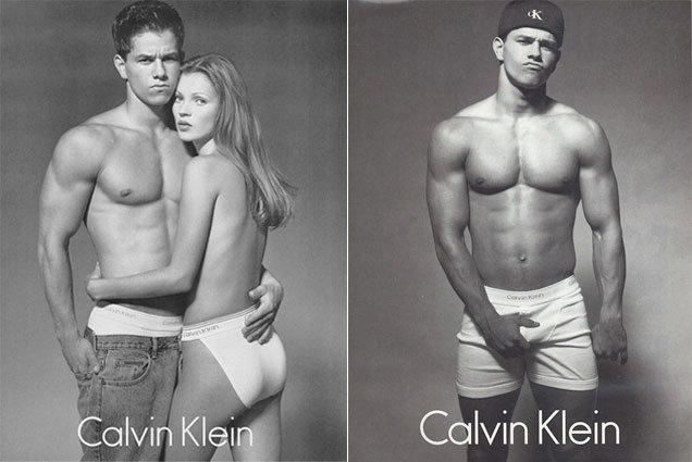 Reklamy Calvin Klein Underwear z 1990 roku, na zdjęciu Mark Wahlberg i Kate Moss